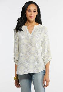 Plus Size Sun Medallion Pullover Top