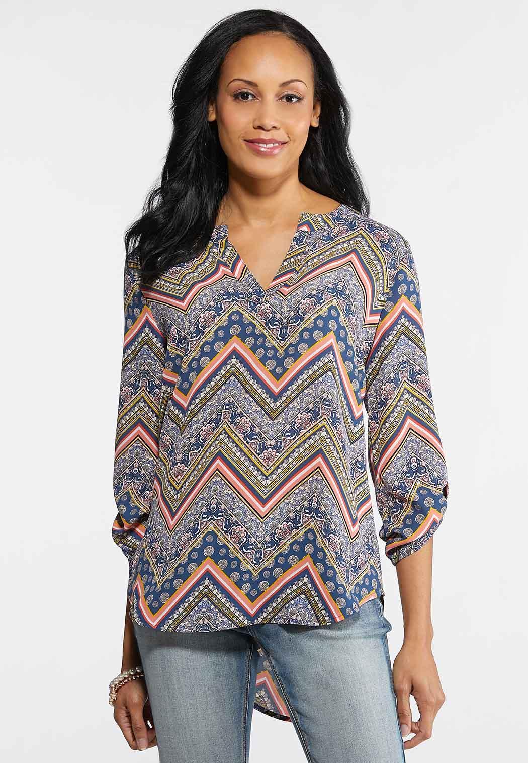 ef1be015b56e7b Plus Size Floral Chevron Top Shirts & Blouses Cato Fashions