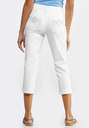 Cropped Stone And Stud Jeans