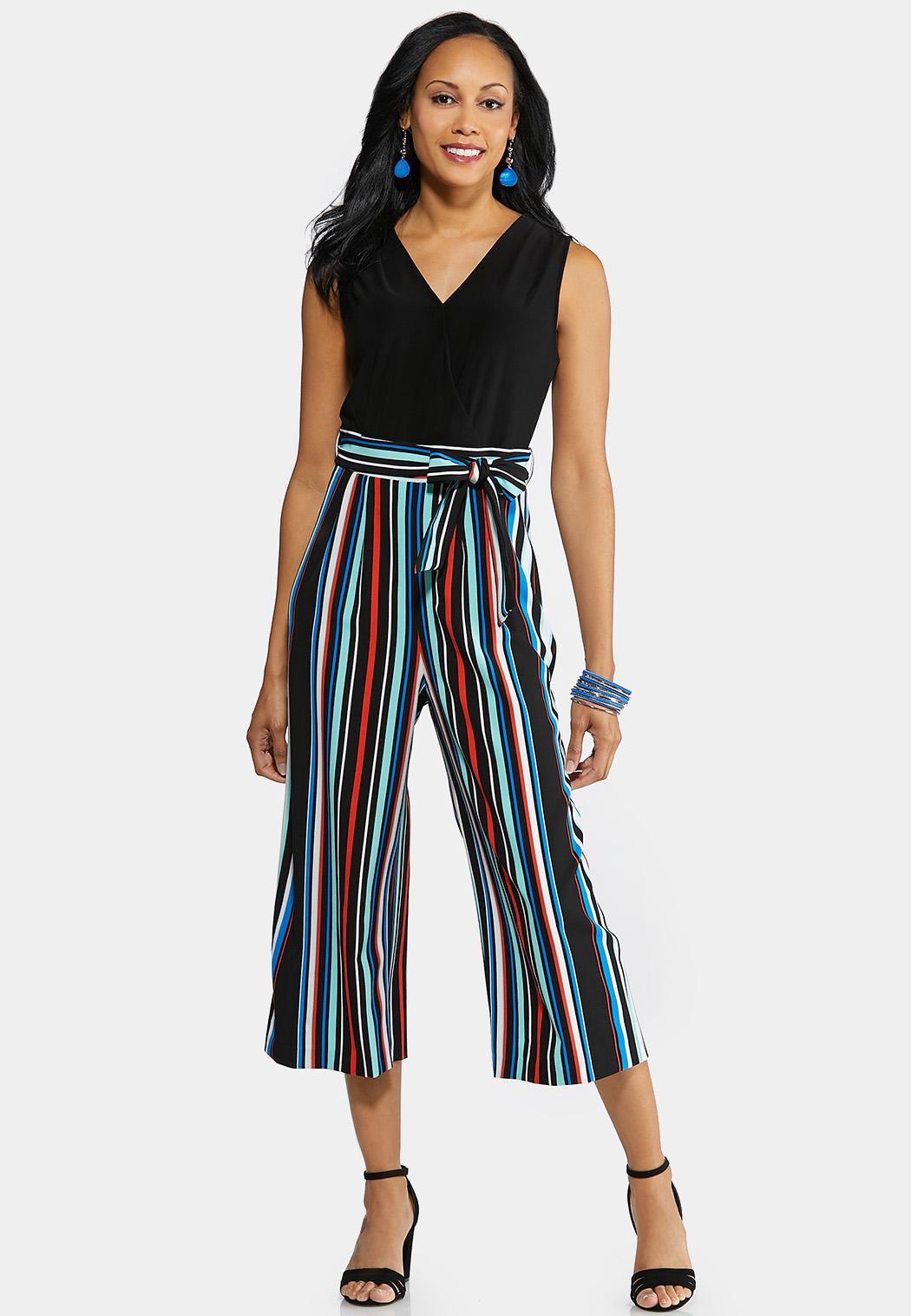 Multi Stripe Cropped Jumpsuit