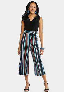 Multi Stripe Cropped Jumpsuit