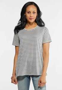 Plus Size Striped Lace Panel Back Tee