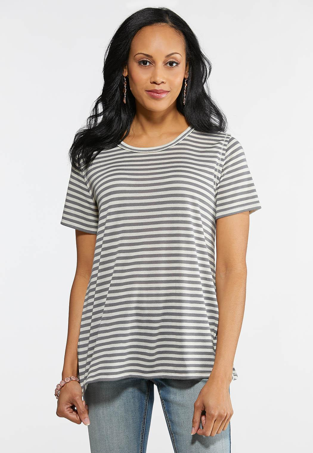 low price reasonable price original Plus Size Striped Lace Panel Back Tee Tops Cato Fashions