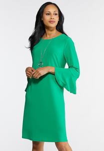 Plus Size Green Bell Sleeve Swing Dress