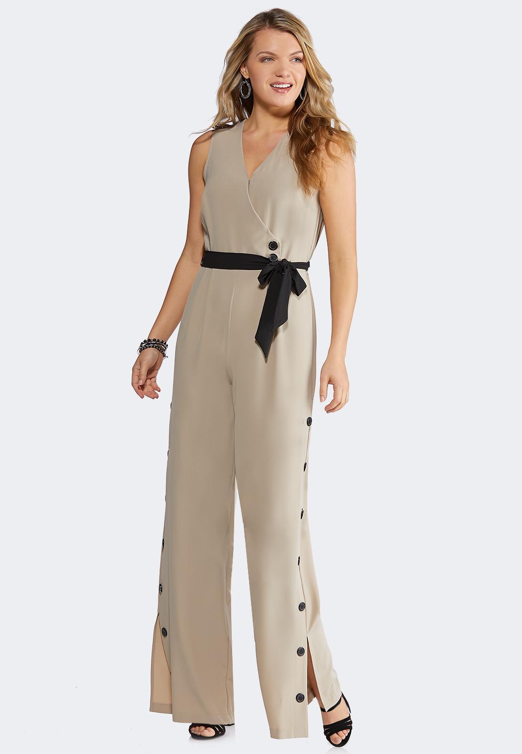 23167f92afd Plus Size Button Pant Jumpsuit Jumpsuits Cato Fashions