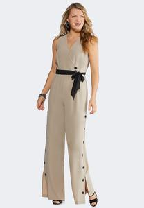 Plus Size Button Pant Jumpsuit