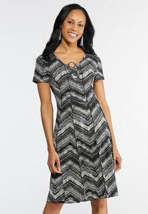 Embellished Seamed Chevron Dress