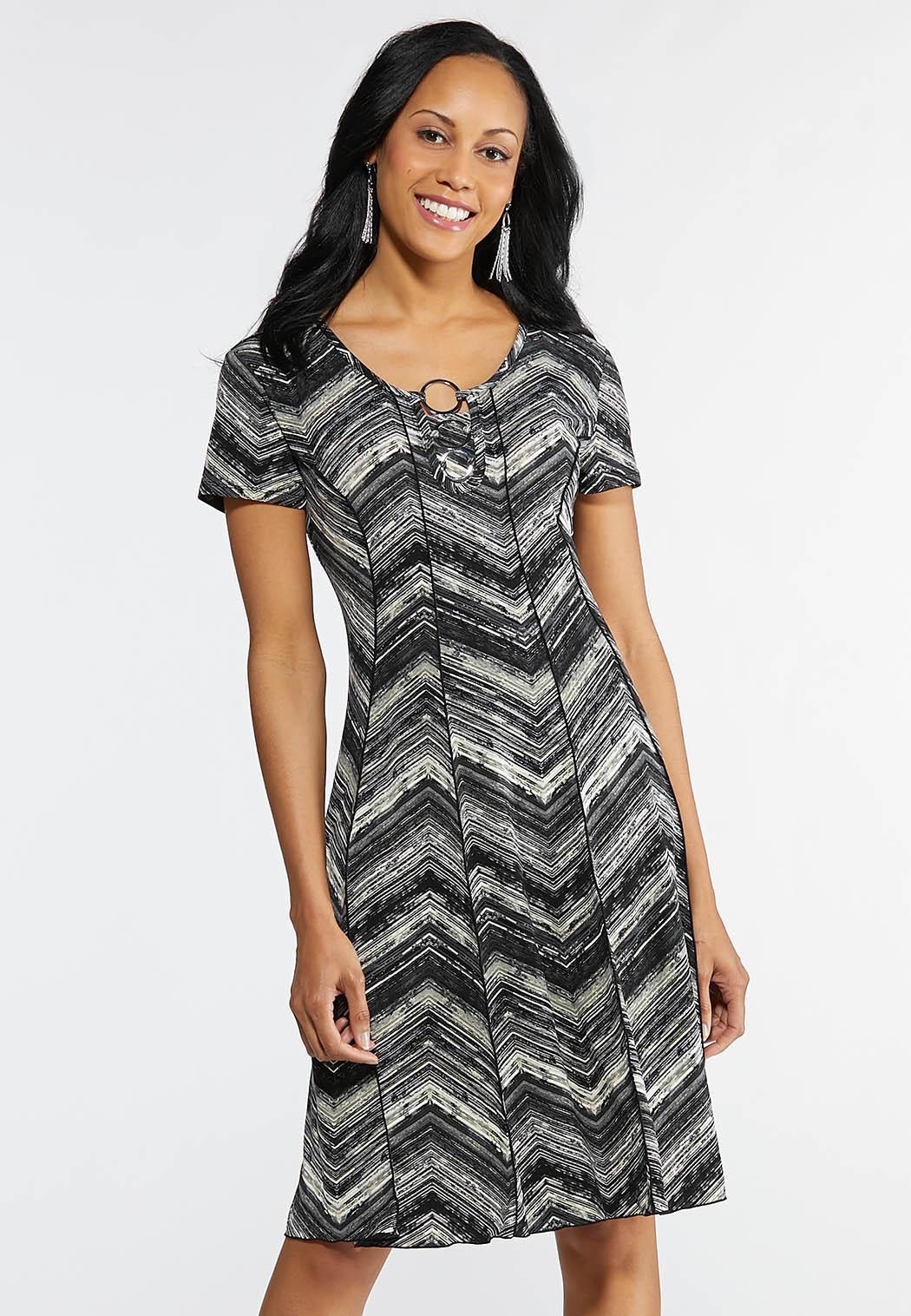 Plus Size Embellished Seamed Chevron Dress