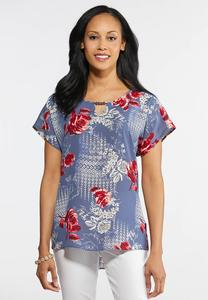 Beaded Keyhole Floral Top