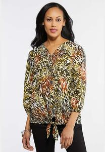 Plus Size Lime Animal Print Top