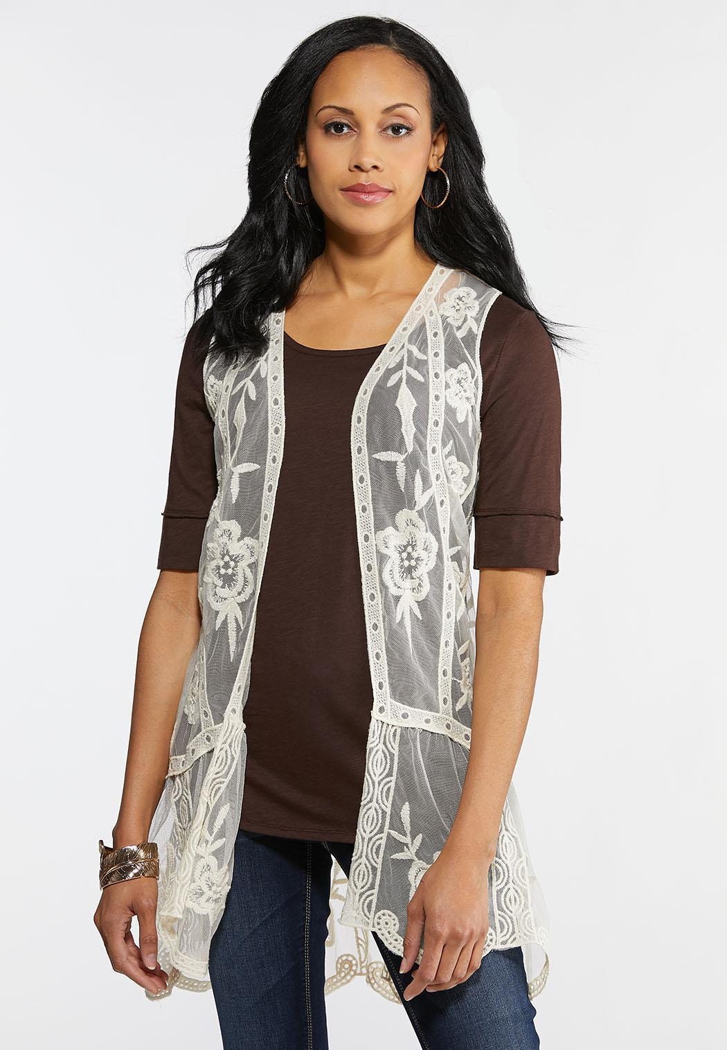 Plus Size Boho Lacy Vest
