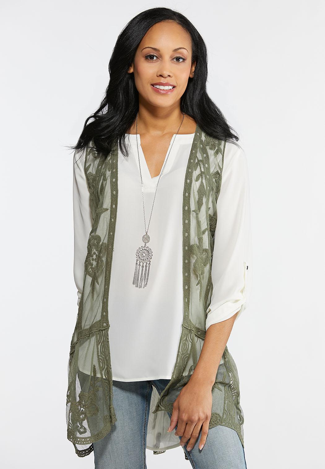 Plus Size Boho Lacy Vest Tops Cato Fashions