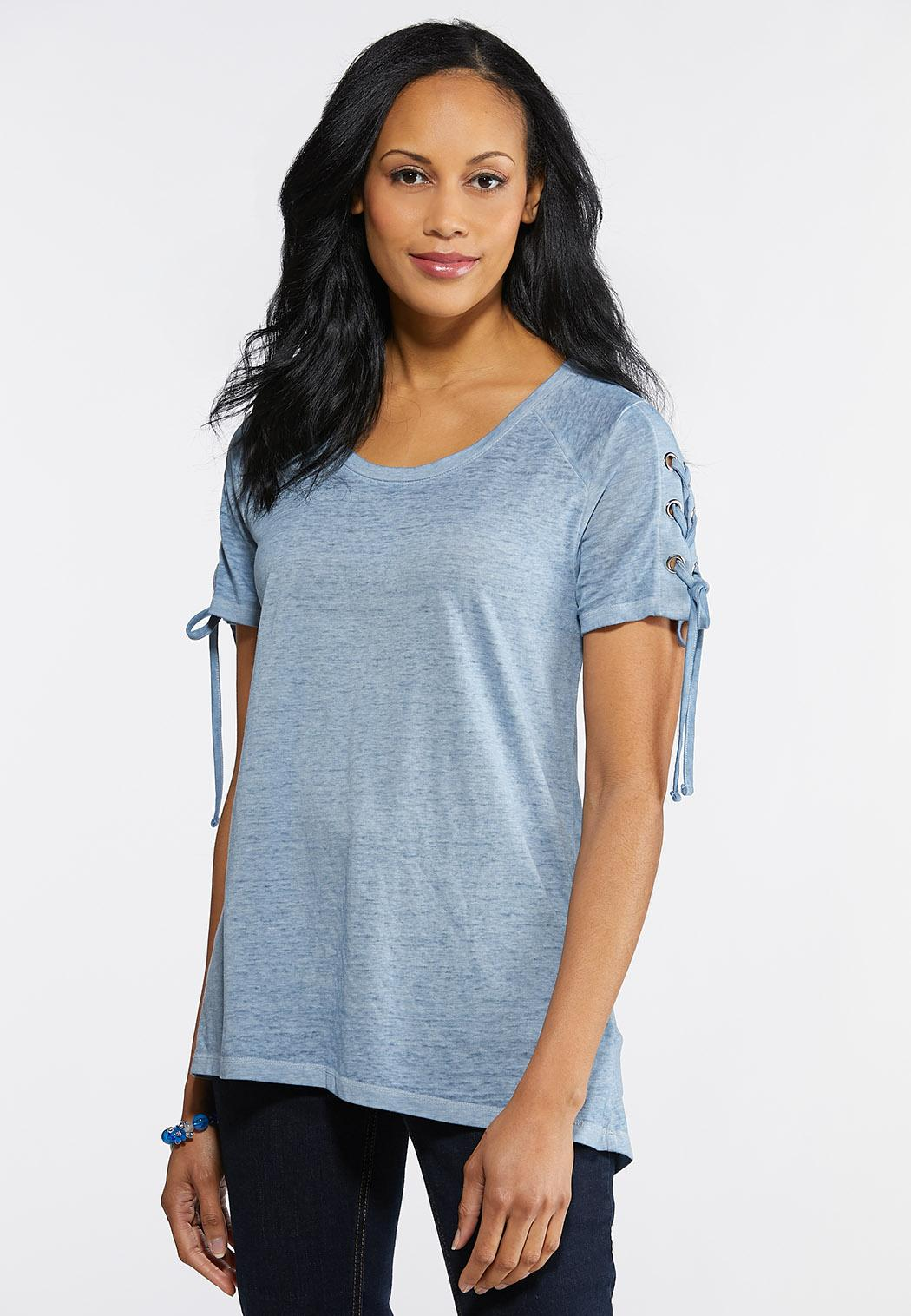 Plus Size Laced Grommet Sleeve Tee