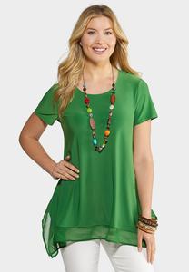 Plus Size Solid Chiffon Trim Sharkbite Top