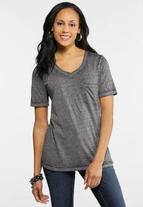 Plus Size Burnwash Pocket Tee