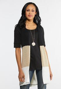Plus Size Colorblock Hacci Vest