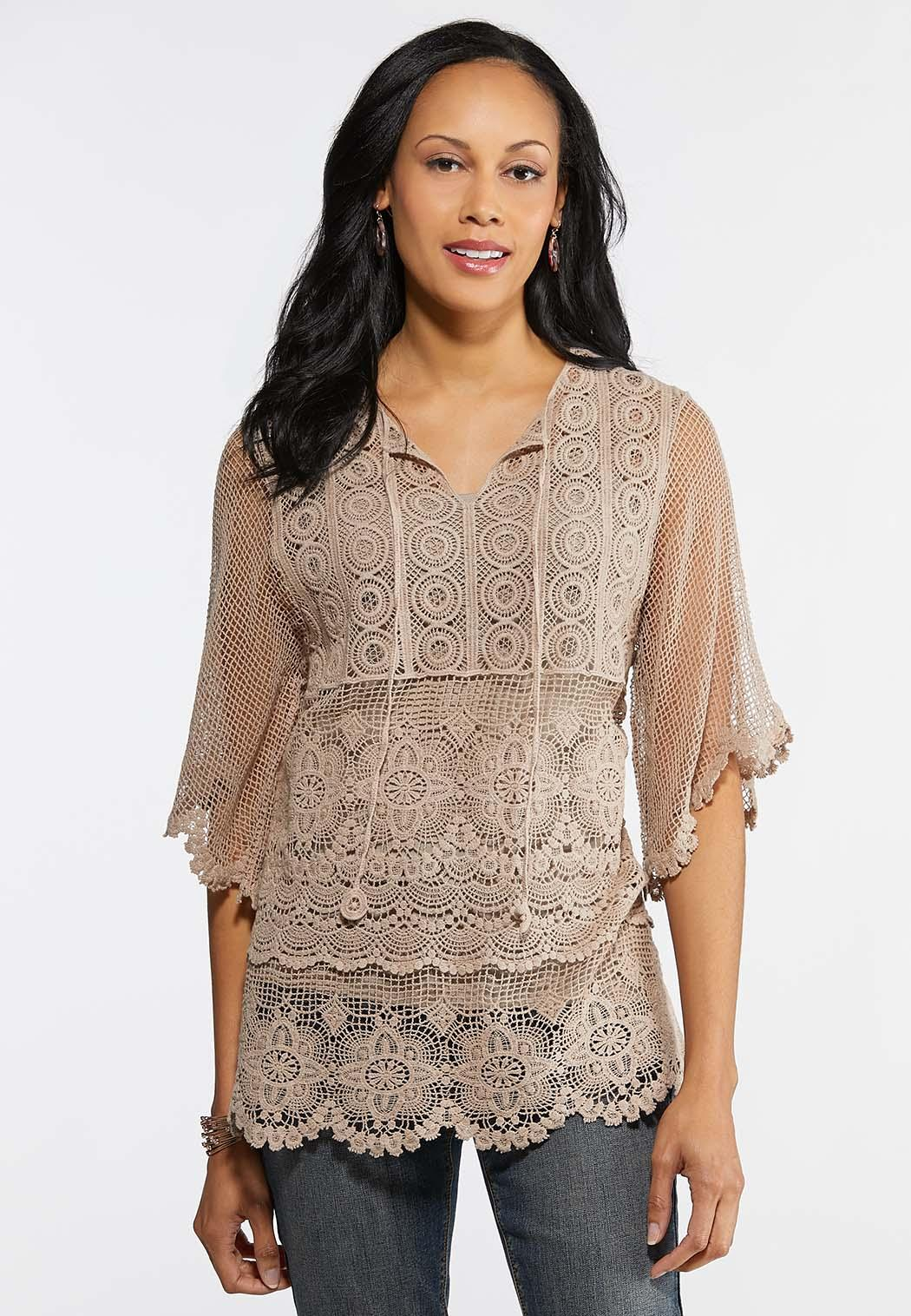 Plus Size Crochet Flare Sleeve Top