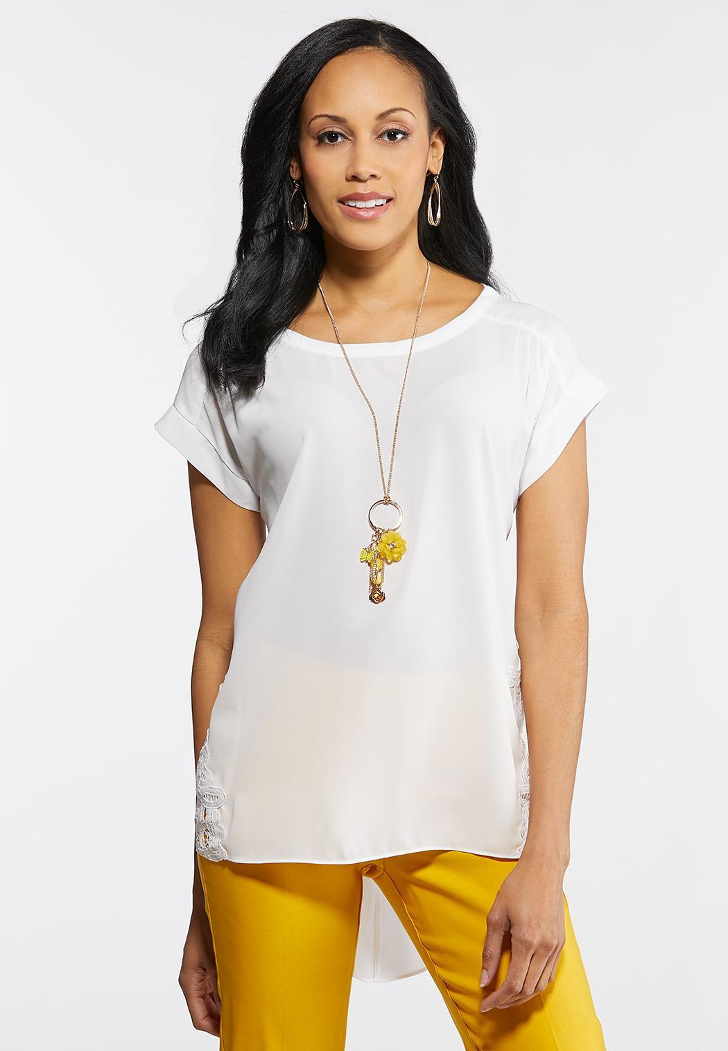 Plus Size Dressy Lace Trim Top