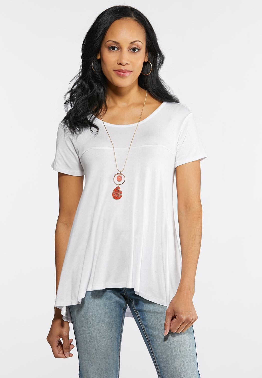 Plus Size Solid High-Low Swing Top