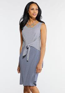 Stripe Tie Front Knit Dress