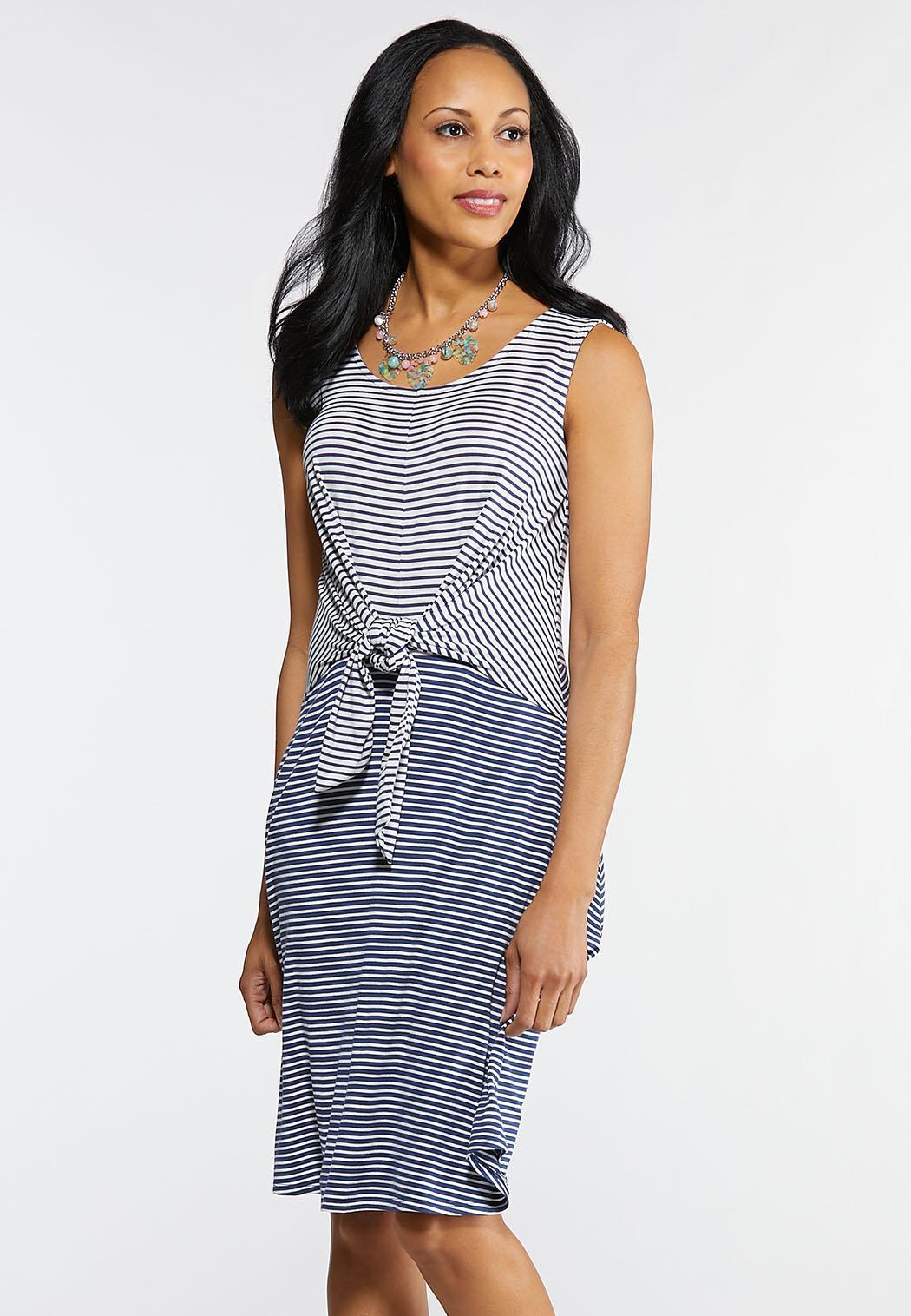 Plus Size Stripe Tie Front Knit Dress