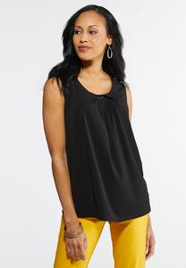 Plus Size Pleated Neck Tank