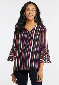 Plus Size Neon Striped Bell Sleeve Top