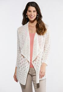 Plus Size Bright White Waterfall Cardigan