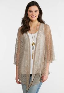 Plus Size Solid Lace Kimono