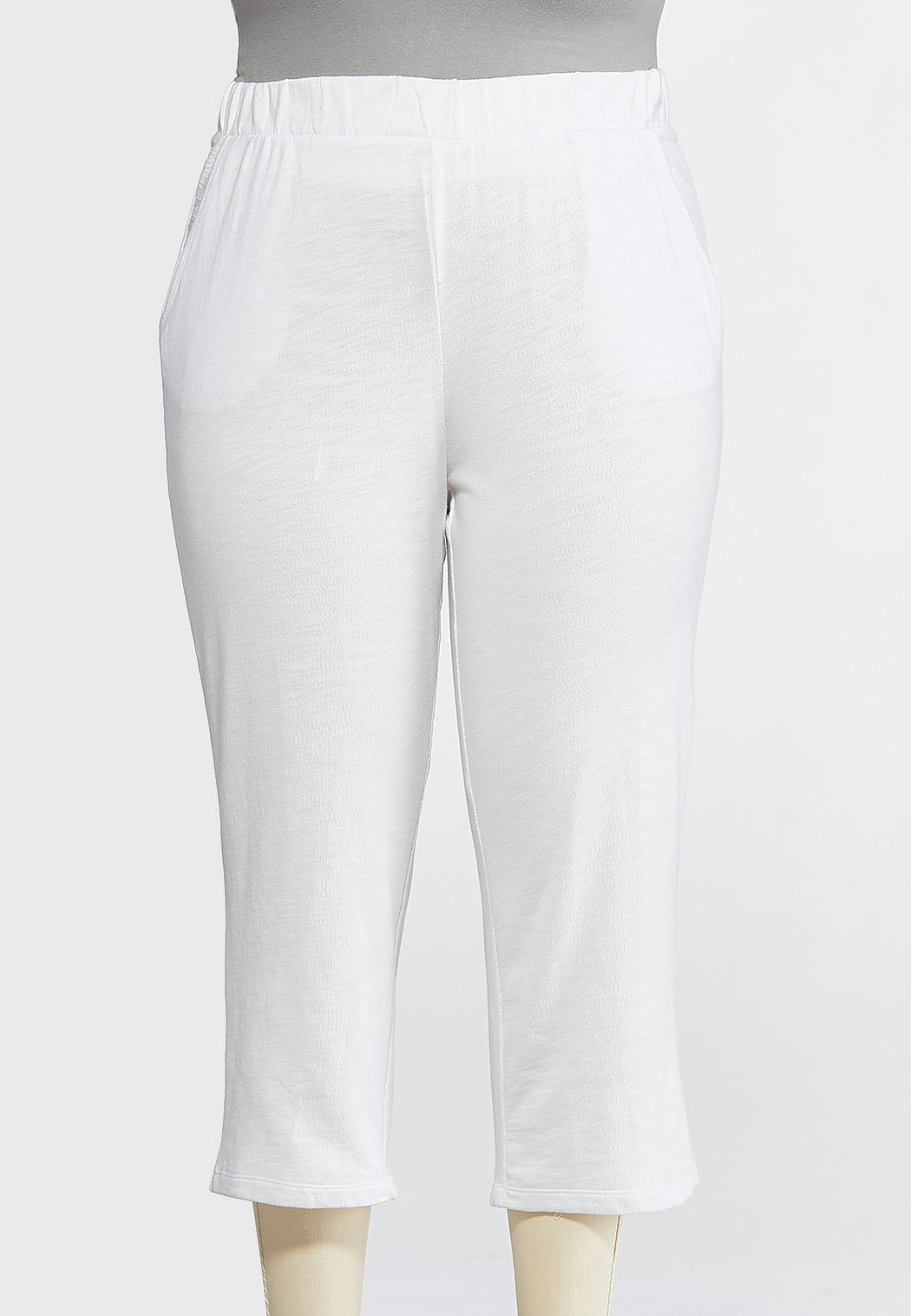 Plus Size Cropped White French Terry Pants