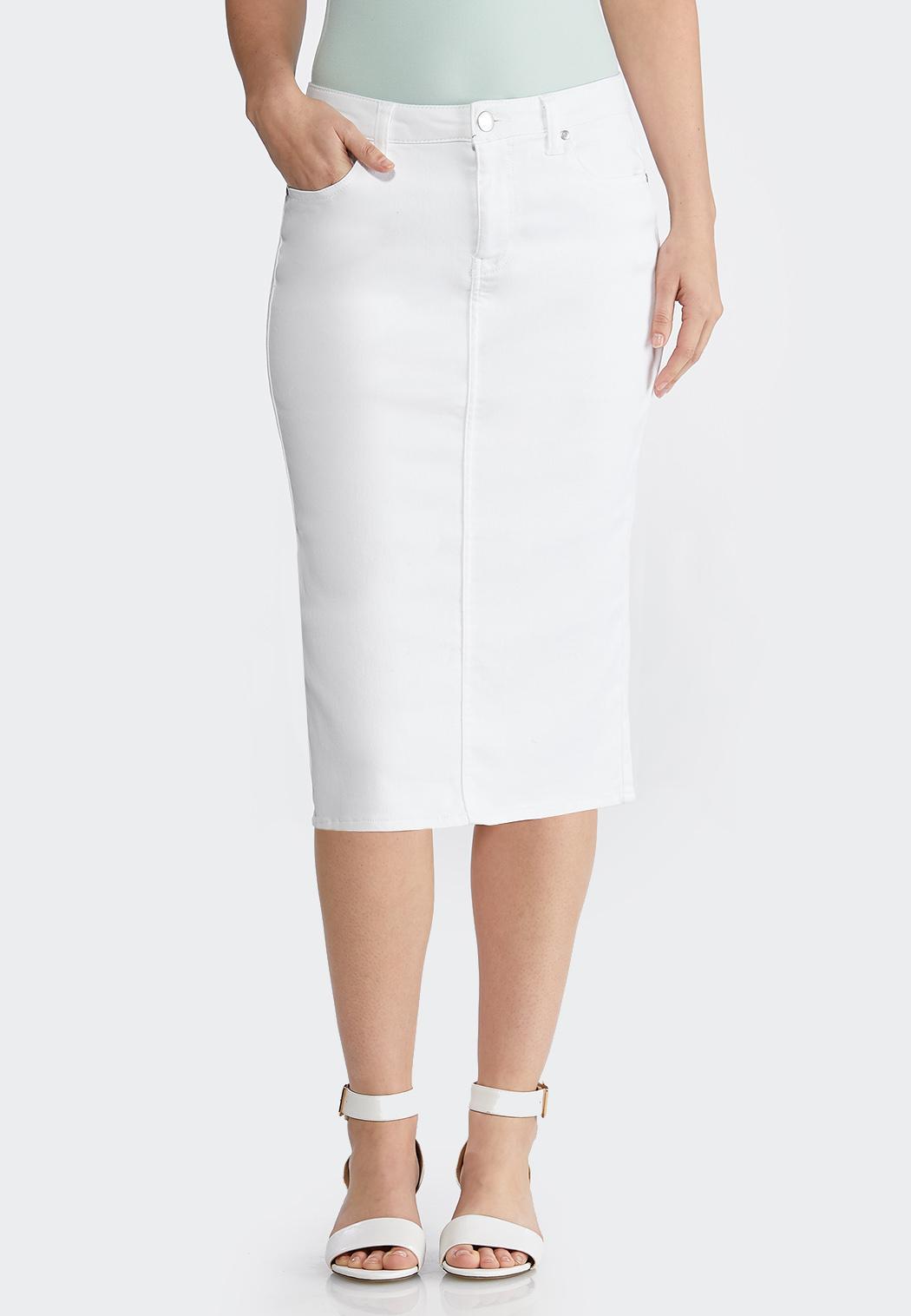 0e6ee0cf38 Plus Size White Denim Skirt Skirts Cato Fashions