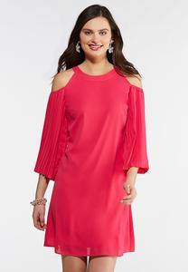 Cold Shoulder Pleated Sleeve Dress