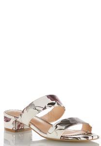 Wide Width Foil Flower Slide Sandals