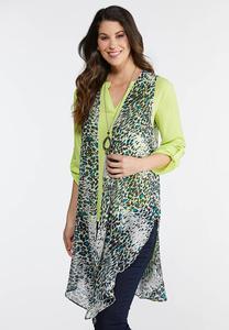 Plus Size Lime Animal Print Vest