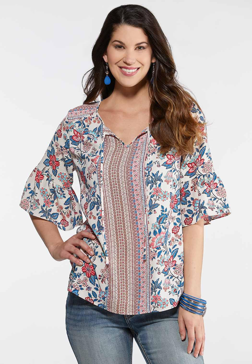 Mixed Floral Poet Top