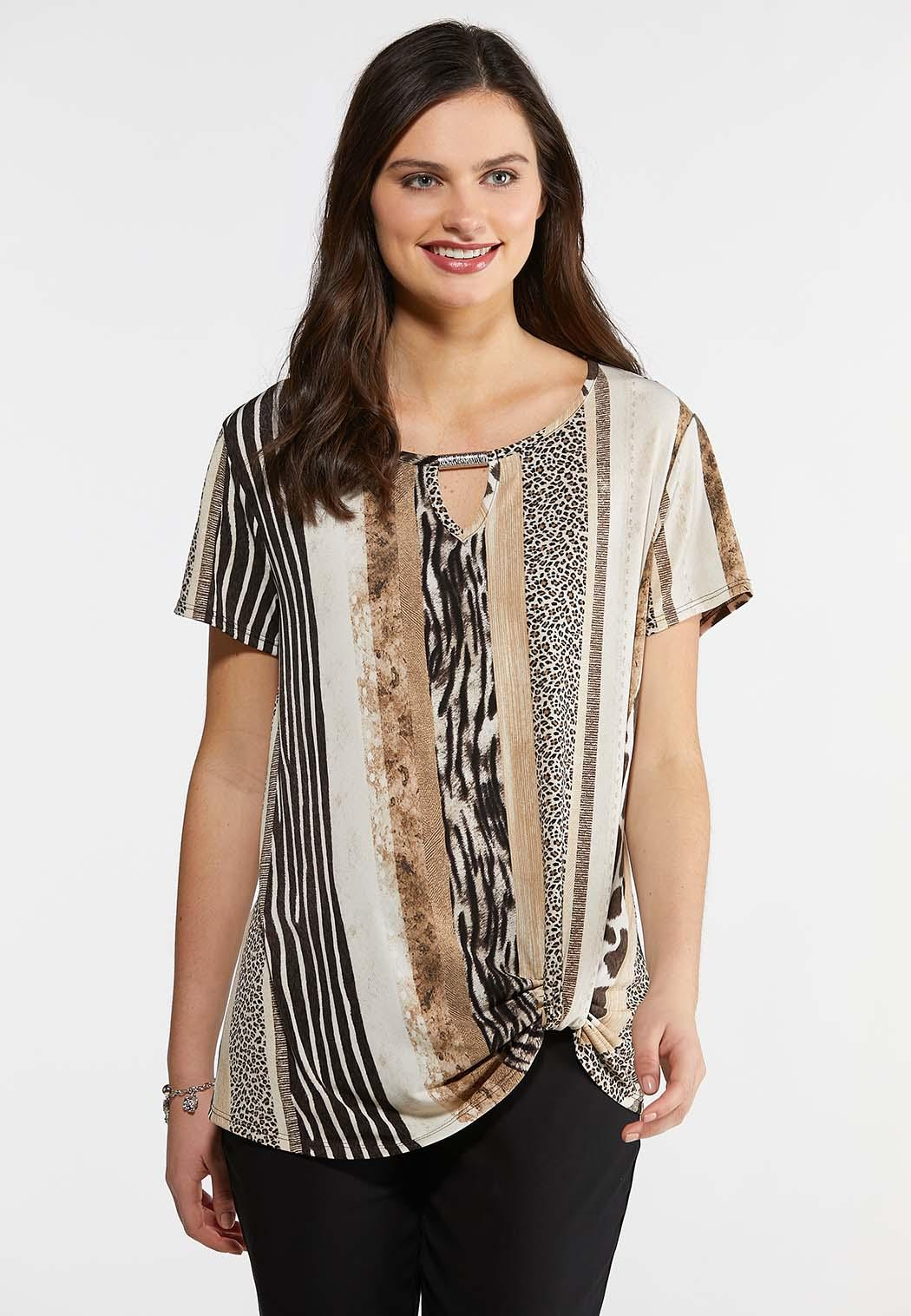 294ae3fc4402 Plus Size Twist Front Animal Print Top Tops Cato Fashions
