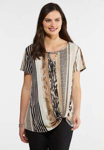 Plus Size Twist Front Animal Print Top