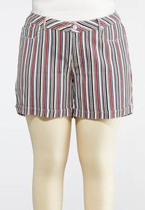 Plus Size Stripe Denim Shorts