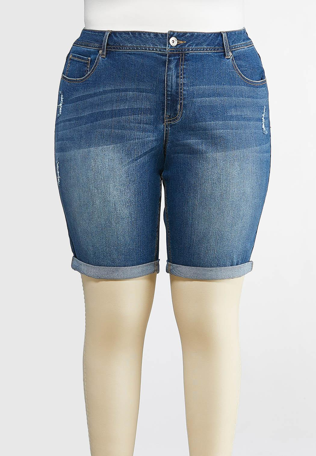 e847a22178 Plus Size Distressed Denim Bermuda Shorts Shorts Cato Fashions