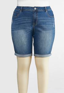 Plus Size Distressed Denim Bermuda Shorts