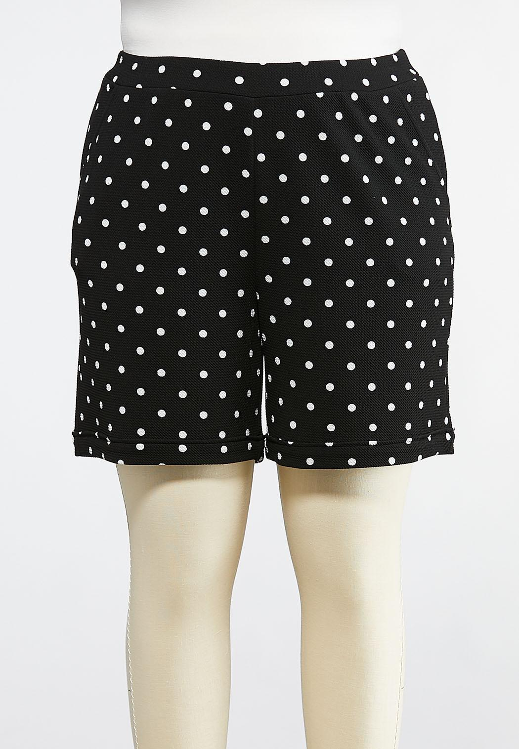 Plus Size Pull-On Polka Dot Shorts