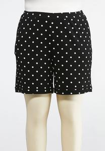 Plus Size Pull-On Polka Dot Shorts