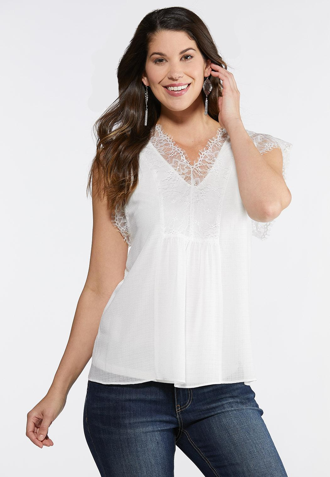 Lace Sleeve Double Layer Top