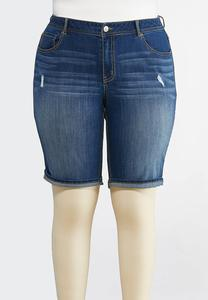 Plus Size Cuffed Dark Denim Shorts