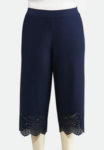 Plus Size Cropped Laser Cut Pants