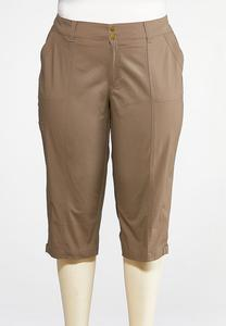 Plus Size Poplin Cargo Cropped Pants