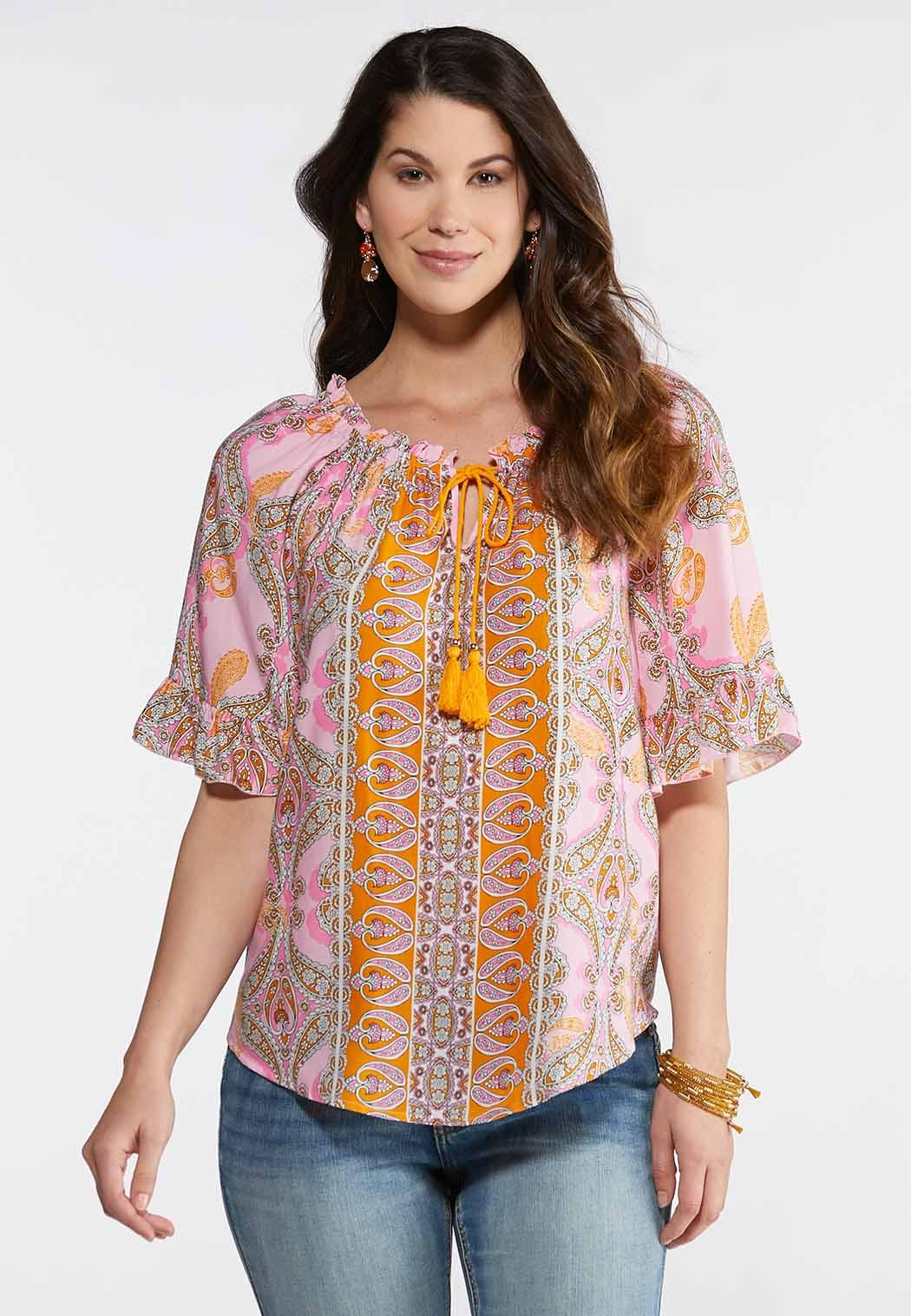 d3f593806c69d Paisley Tasseled Poet Top Shirts   Blouses Cato Fashions