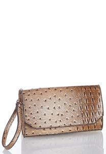 Faux Ostrich Convertible Crossbody