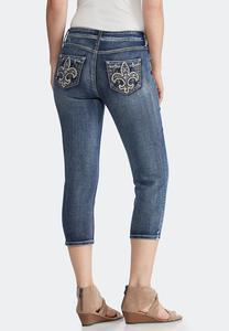 Cropped Fleur De Lis Pocket Jeans