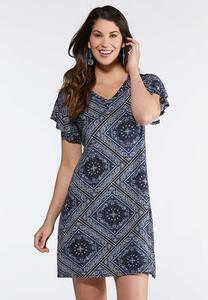 Plus Size Bandana Flutter Sleeve Dress
